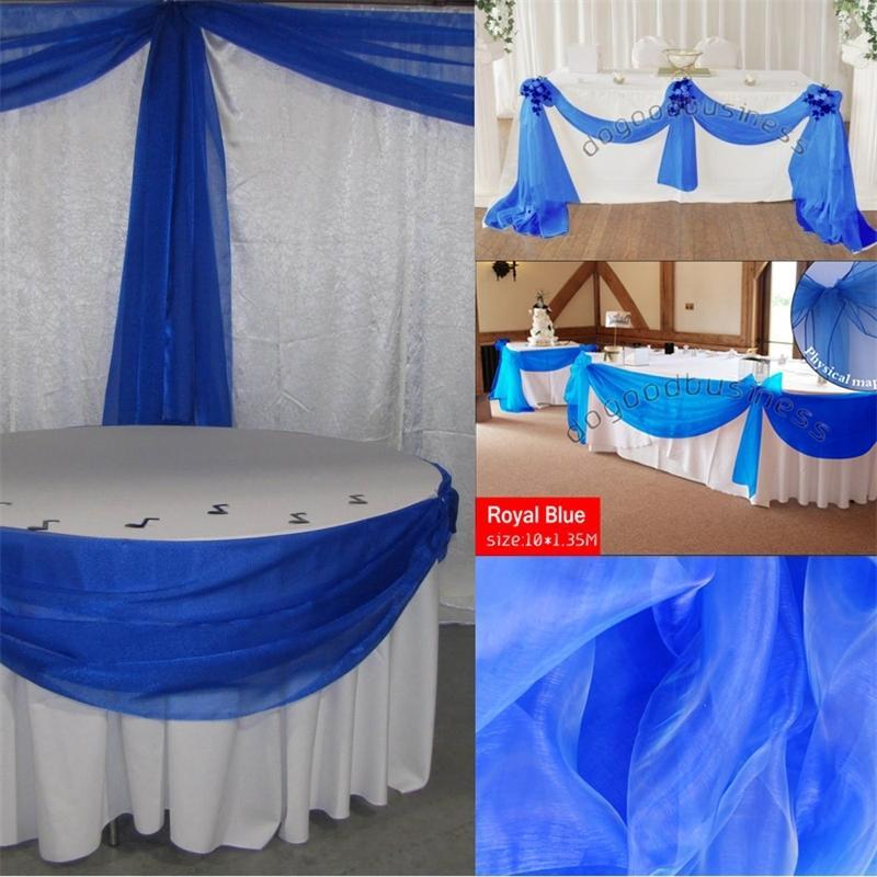 الملكي الأزرق 10 متر * 1.35 متر شير الأورجانزا غنيمة النسيج الزفاف حزب اللوازم الديكور المنسوجات المنزلية من الشحن المجاني مع عالية الجودة T200827
