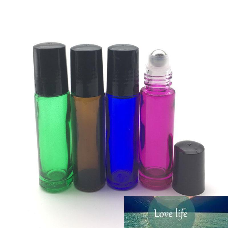 6pcs 10ml vazio Vidro Grosso Perfume rolo Garrafa Teste Óleo Essencial Vial Roll-On tampa de plástico preto