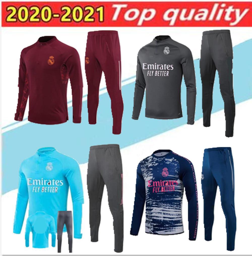 20 21 Gerçek Madrid Futbol Eşofman Chandal 2020 Camiseta De Futbol Tehlike Benzema Modric Futbol Eğitim Takım Koşu