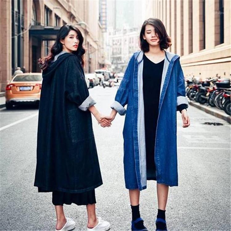 2019 Fashion Long lâche Denim Coat plus Taille Couleur Solide Couleur à capuche pleine manche Femme Trench Coat Casual1