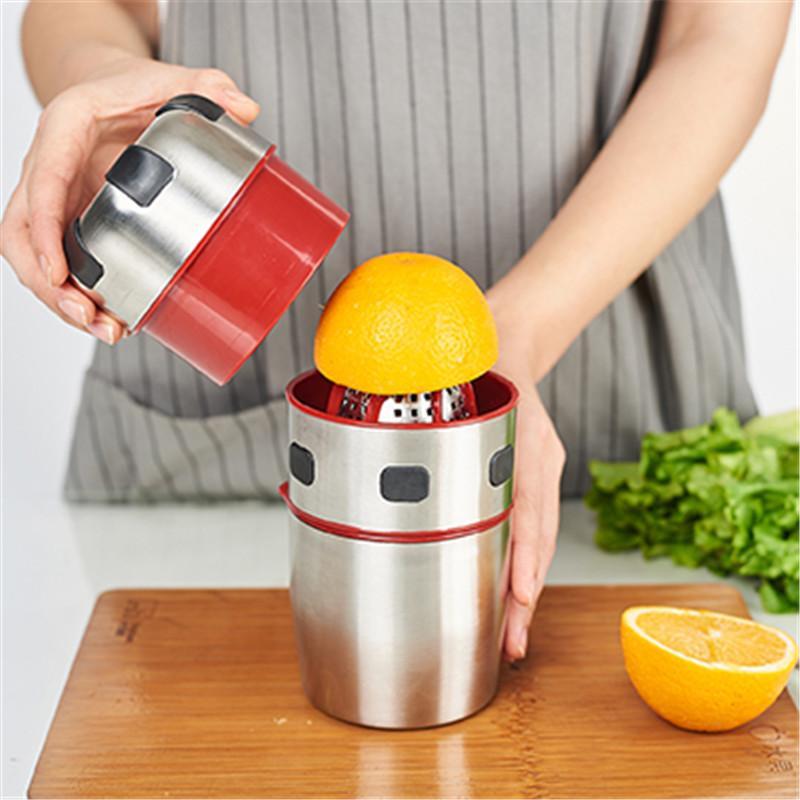 Leistungsstarker edelstahl orange saftiger tragbarer manueller deckel rotation zitrus saftiger zitrone orange tangerin saft squeezer w1231
