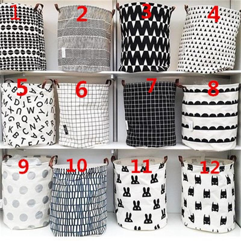 Brinquedos de armazenamento balde Norte da Europa Início Mobiliário cesta de lavanderia letras alça de couro da manta de lona baldes reciclável 14ly F2
