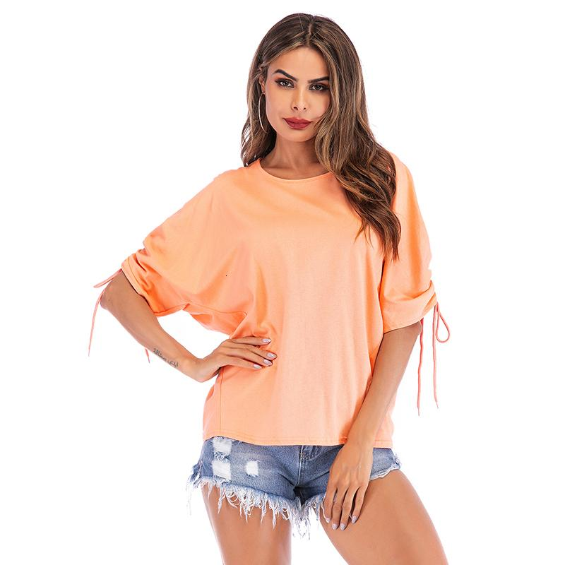 Nuevo verano 2009 Use el desgaste de las mujeres Cuello puro Steed-Dimensional Sleeve Tie T-Shirt Top suelta