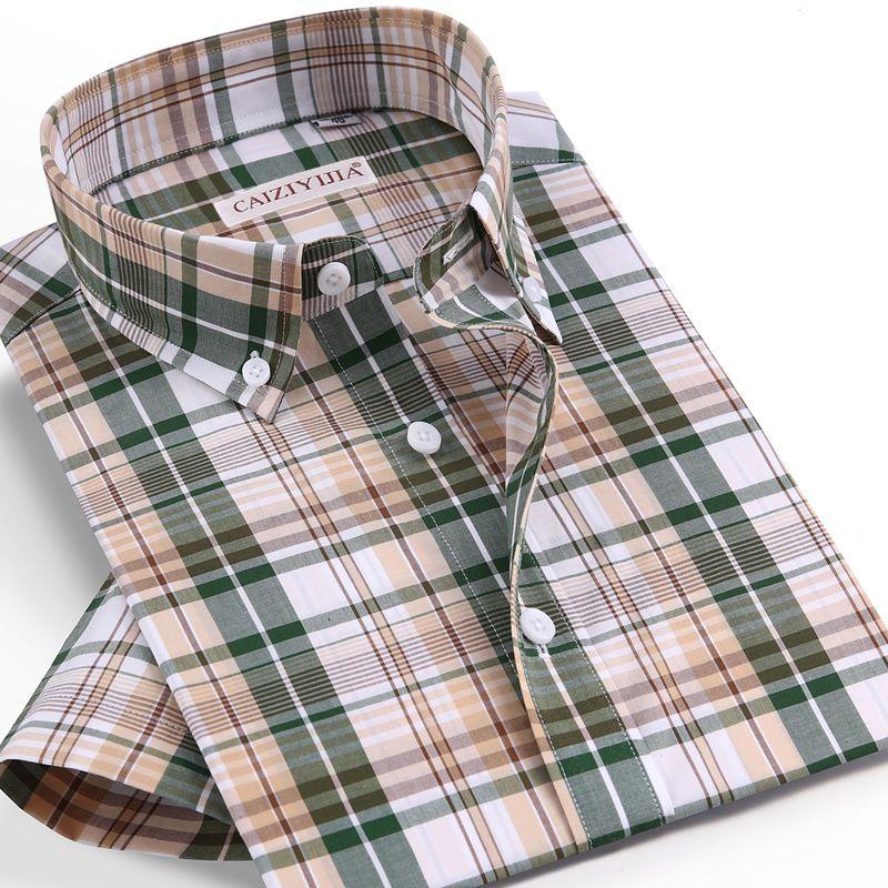 Checkered Mens Casual Shirts 100% Cotton Short Sleeve Summer Cool Plaid Shirts for Men Slim Fit Male Tops pocketless Quality LJ200928