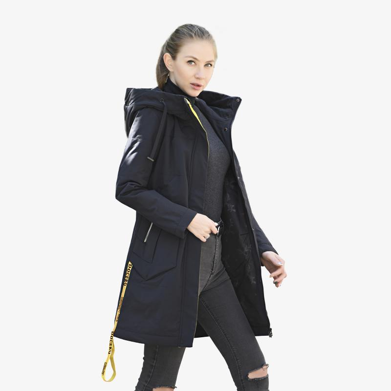 Yüksek kaliteli kadın ceket ilkbahar sonbahar moda rahat ince parka Avrupa rüzgar geçirmez uzun artı boyutu kapüşonlu yeni kadın ceketler 201110