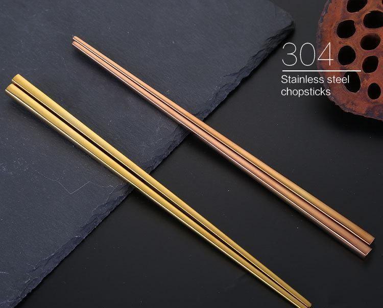 304 Stainless Steel Vacuum Plating Colorful Square Chopsticks Good Quality Gold Rainbow Black Chopsticks Wholesale jllWTqM lajiaoyard