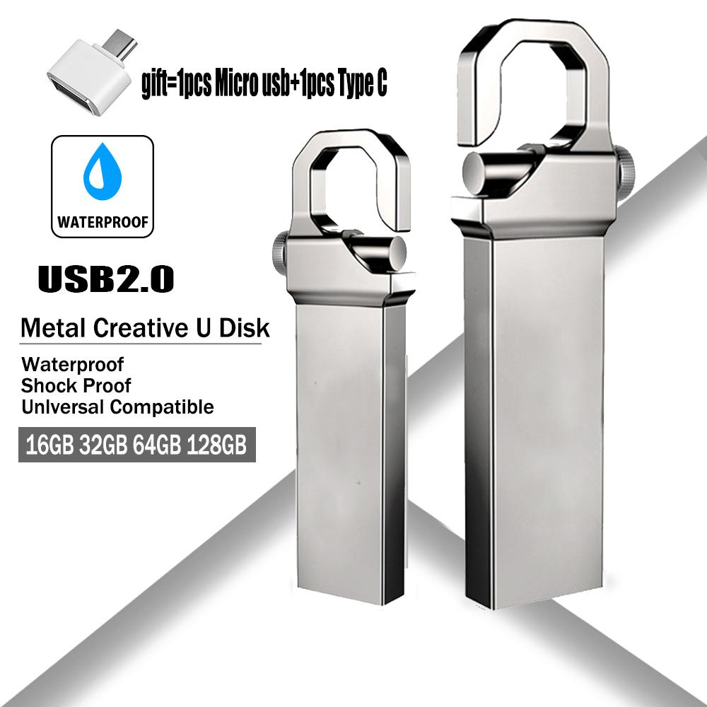 New Pen drive Pendrive 64GB 32GB 16GB 8GB USB Flash drive Waterproof Metal U Disk Memoria Cle USB 2.0 Memory Stick