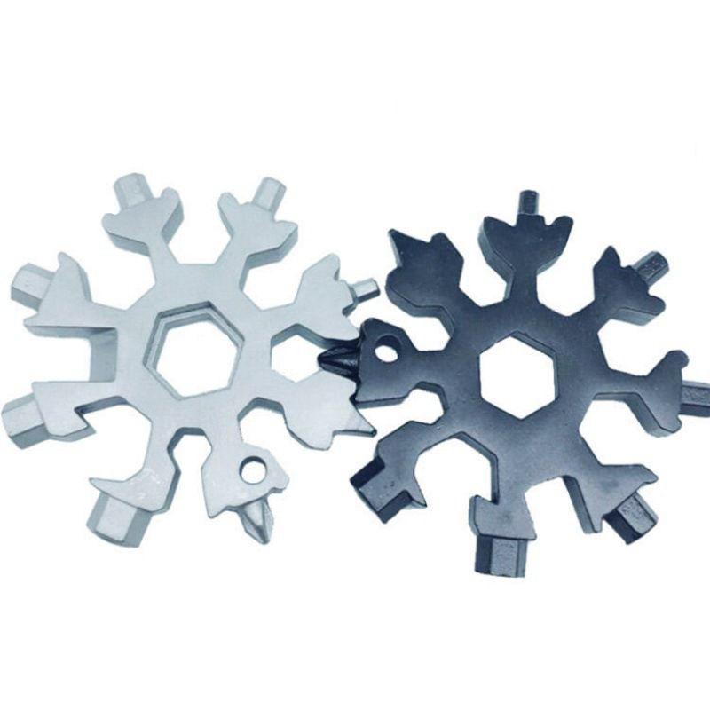 18 dans 1 camp de randonnée multifonctions clé outil de poche anneau porte-clés multipurposer ouvreurs extérieur flocon de neige survivre clé hexagonale multi Spanne GWC2693