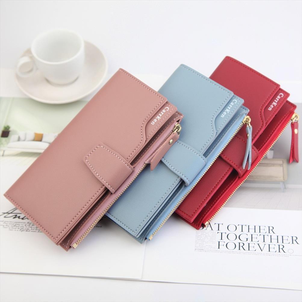 Pelle Donna Elegante Portafoglio Buckle Strap Zipper Pochette Femminile tre strati Portafogli Versatile Carte Money Bags Purses