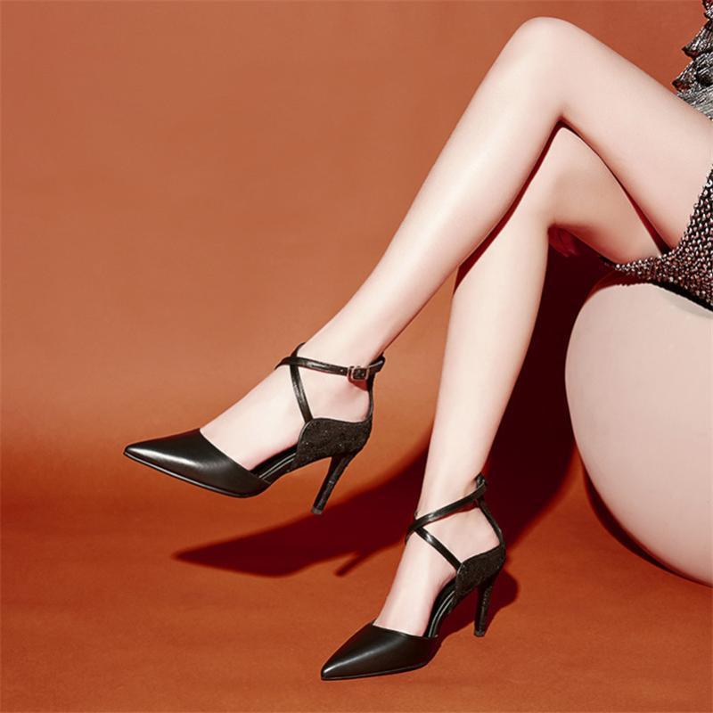 Conasco nouvelle mode sexy femmes pompes pointues bot de boucle sandales d'été 2021 cuir véritable chaussures simples femme fille chaussures de base