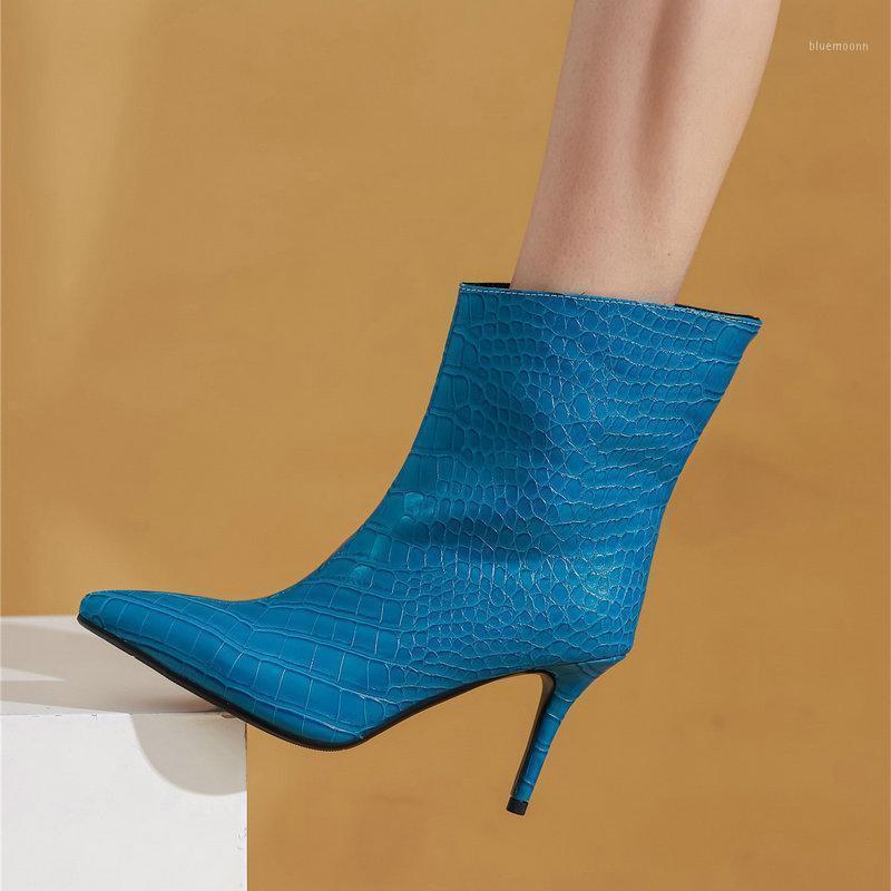 Тиснение животных отпечатки женщин ботильоны эконом стиль супер высокие каблуки зимние танцы ночной клуб обувь женщина большой размер 41 42 431
