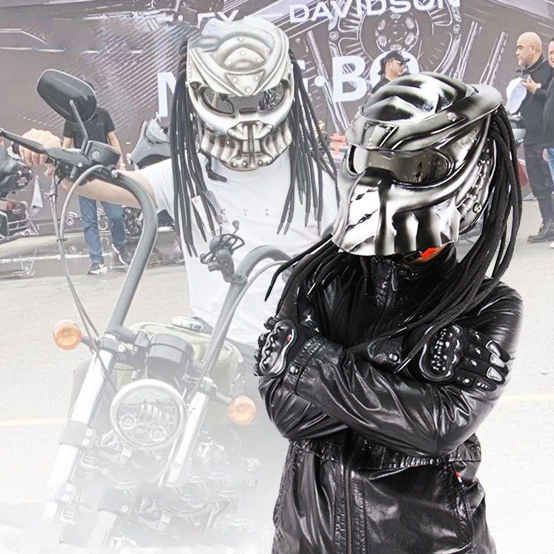 Nuovo esclusivo casco del motociclista del casco del motociclista del casco dell artigianato di fascia alta dell uomo di fascia alta con le trecce dell uomo con le trecce