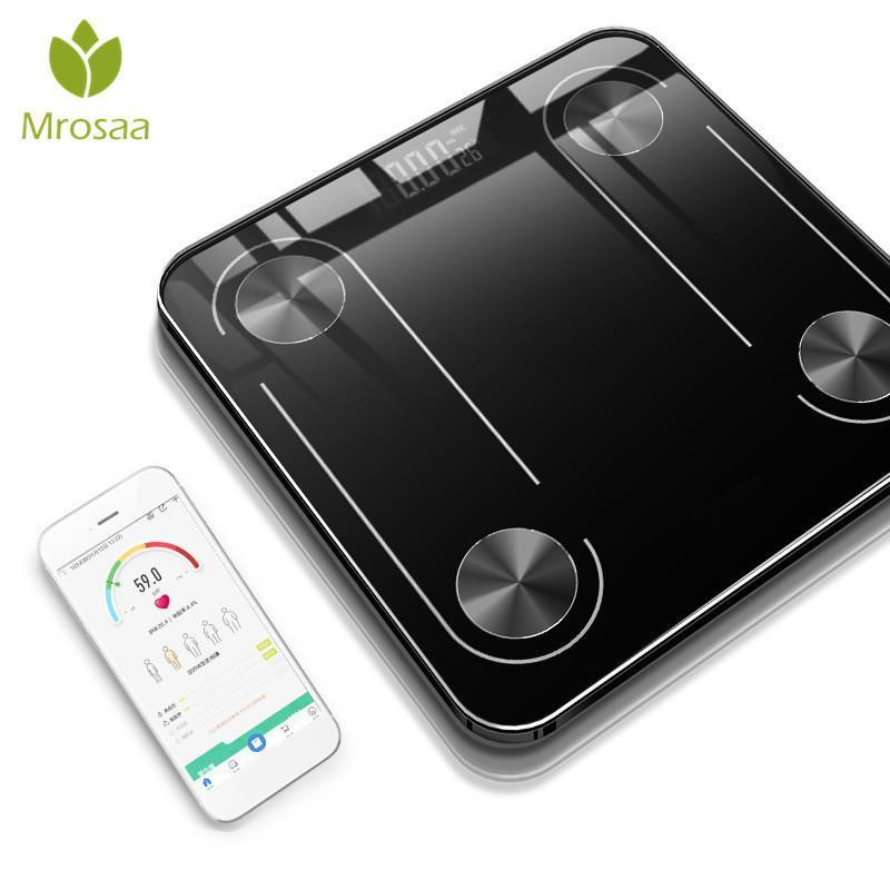 Bluetooth-весы напольные тела веса баланса ванной шкалы научный смарт-подсветки светодиодный дисплей жира жира BMI USB зарядки Y200106