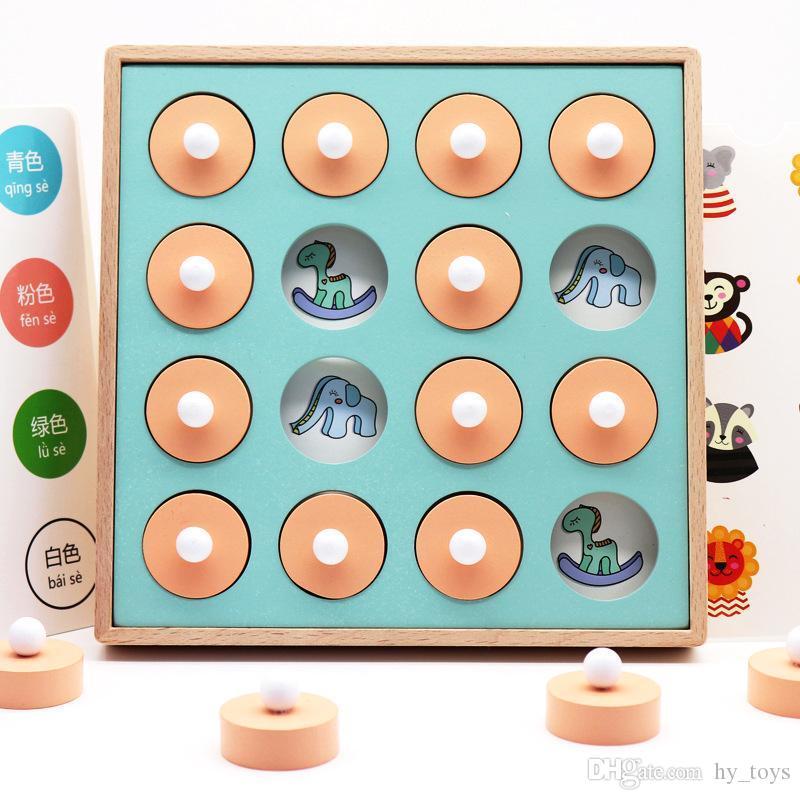 Montessori Hafıza Maç Satranç Oyunu 3D Bulmacalar Ahşap Erken Eğitim Toy Aile Partisi Casual Etkileşim Oyun Oyuncak For Children Hediye İyi
