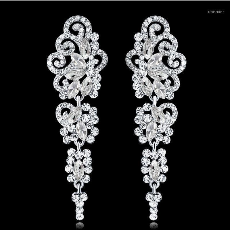 Muilina Argento Colori Goccia di cristallo Goccia di nozze per le donne Coreano Moda Strass Bridal Bridal Orecchini lunghi gioielli1