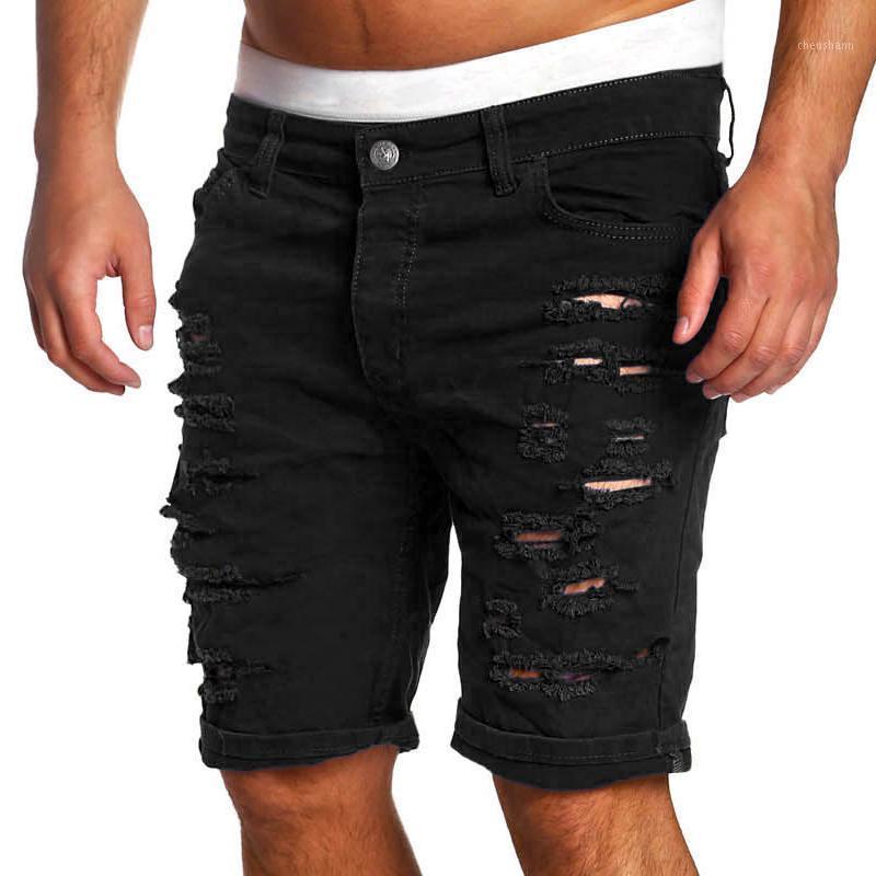 Mode gerissene Loch Denim Shorts männer schwarz weiß schlanke dünne gerade lässige jeans shorts männer vintage niedrige taille kurze homme1