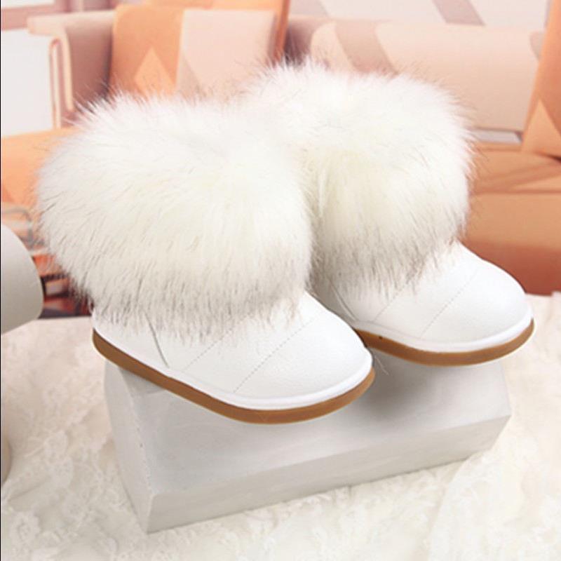 Bebek Kış Peluş Sıcak Pu Deri Düz ile Bebek Açık kar botları Kız Çocuk Ayakkabı 26-36 #