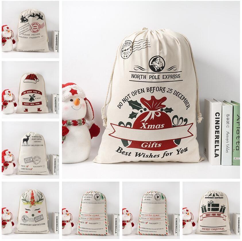 9 Styles Christmas Gift Bag Santa Sack Drawstring Bags Canvas Santa Sacks Storage Print Gift Bags Xmas Decoration LJJP581