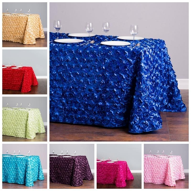 Новый дизайн прямоугольник атласная розетка настольная ткань Свадебная скатерть цветов события вечеринка украшения LJ201223