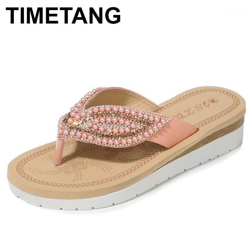 Timetang2020Summer Yeni Kadın Moda Terlik Moda Kız Plaj Terlik Rahat Kaymaz Düz Thongs Kadın Sandalet Büyük Boy1