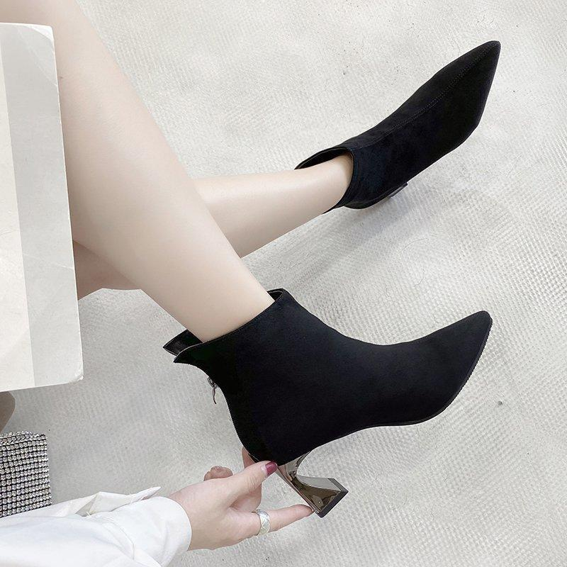 2020 Otoño Moda Fashion Rhinestone Botas de tacón alto Mujeres Puntas puntiagudas Botas niños Talón grueso Mujeres Women W288