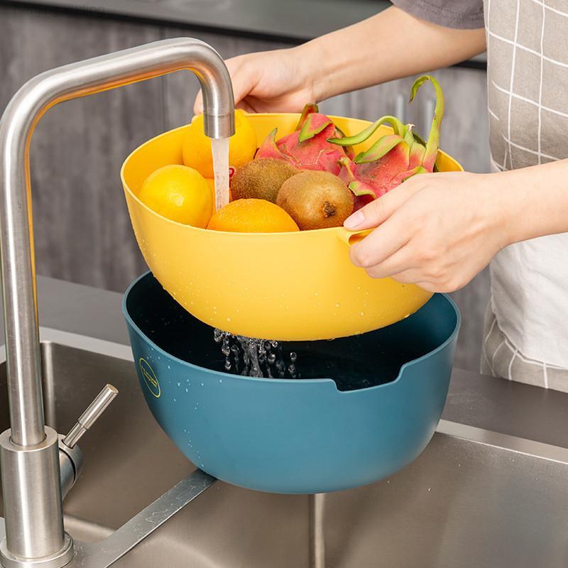 Adorehouse Двойные Слои Пластиковые Овощные Корзина Номес Стиль Многофункциональные Корнальники Контейнер для хранения Кухня Бытовая