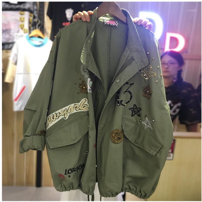Женщины с длинным рукавом Крупногабаритные джинсы куртка Сыпучие Лоскутное Вышивка Основные куртки пальто женские джинсы пальто вскользь девушки Outwear