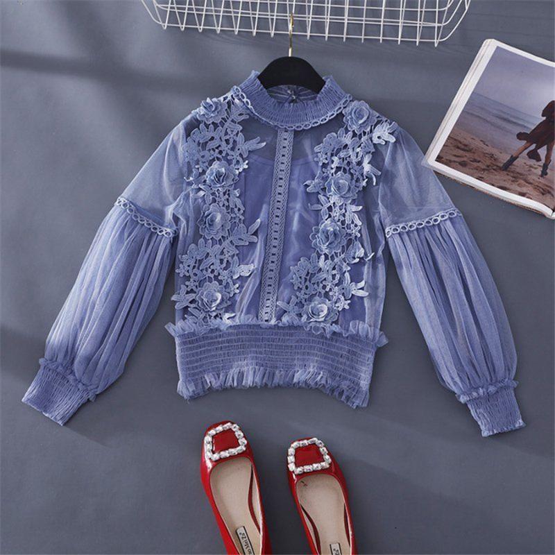 Весна Лето женщин Кружев цветочных Блузки Рубашки женских топы Сексите сетку Блузы Прозрачную Элегантную пропускающую Рубашки