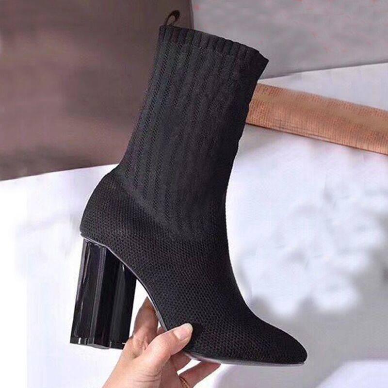 Otoño invierno tacón alto botón de punto botas elástica letra gruesa tacones sexy mujer zapatos moda calcetines botas dama tacones alto tamaño grande 35-42