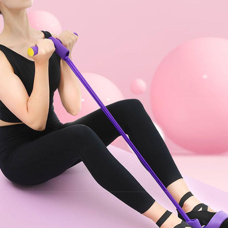 4 أنابيب المطاط الطبيعي دواسة القدم مطاطا سحب حبل مع مقبض معدات اللياقة البدنية 875D