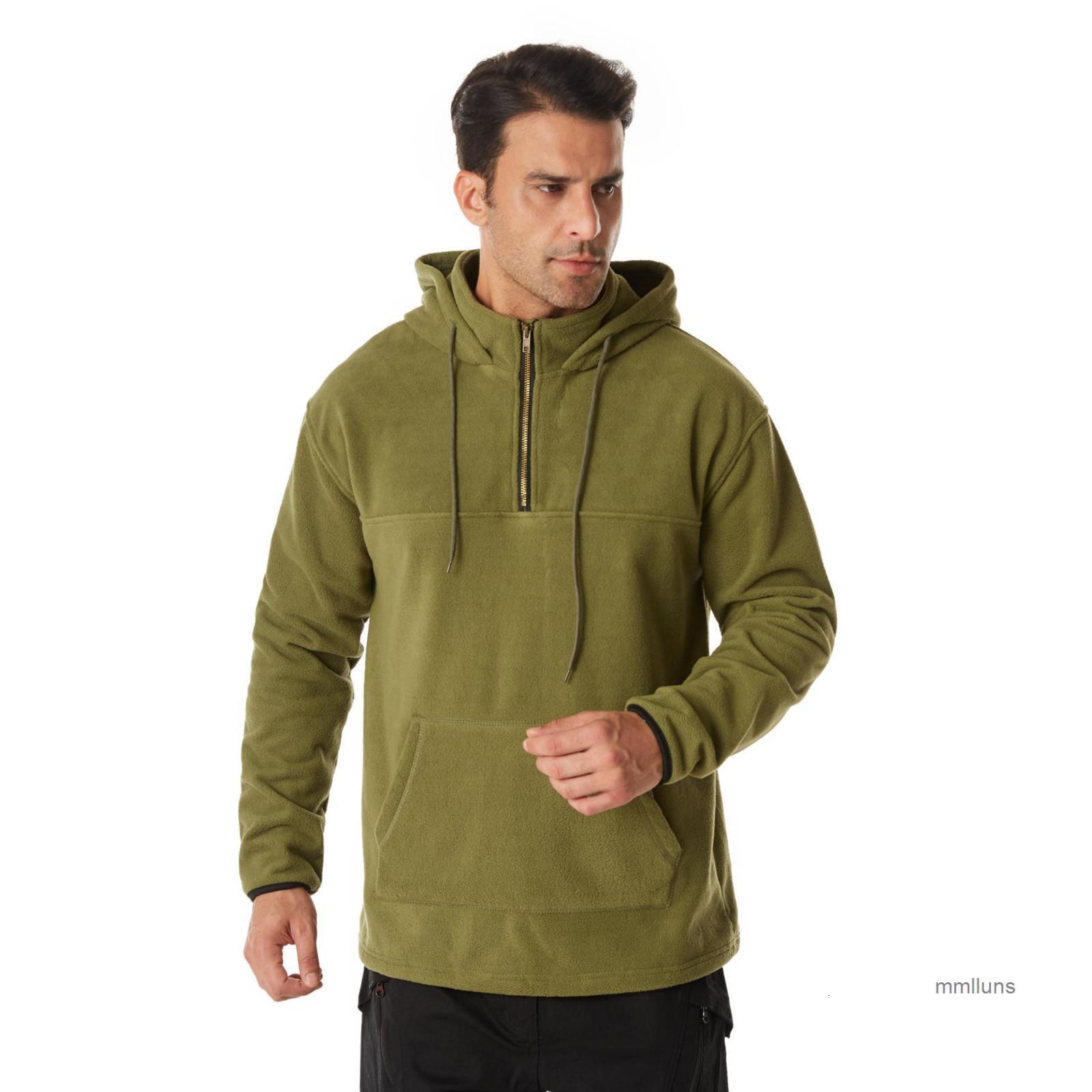 Doble. Color de lado sólido con capucha de gran tamaño otoño invierno desgaste al aire libre y suéter para hombres