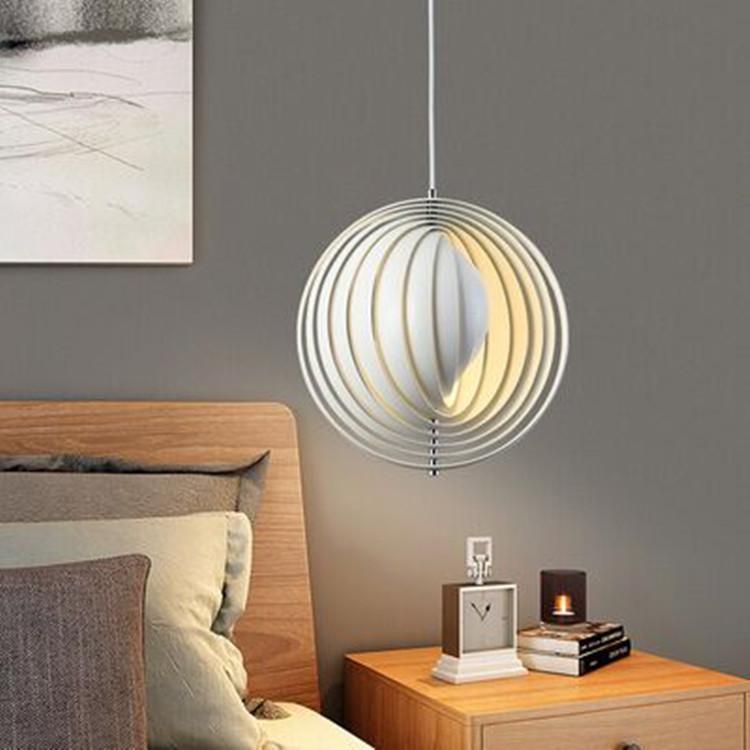 펜던트 램프 북유럽 바 카운터 침실 식사 테이블 달 포스트 - 현대 미술 디자인 샹들리에 레스토랑 LED 조명 링 회전