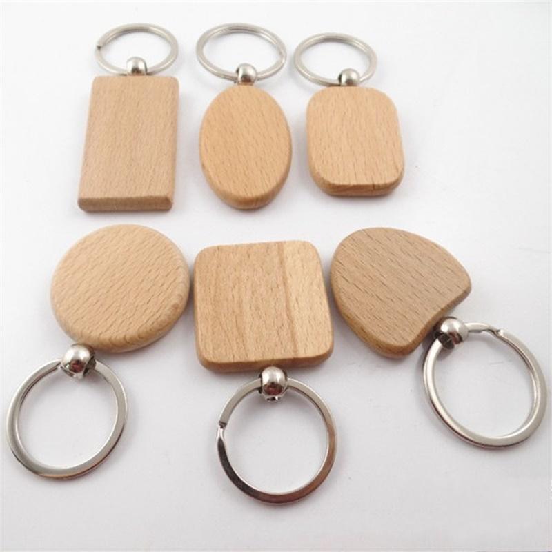Натуральное деревянное ключевое кольцо Различные формы Круглый квадратный сердечный ключевой цепь Ctrative Anti Tobled Wood Beechain 320 N2