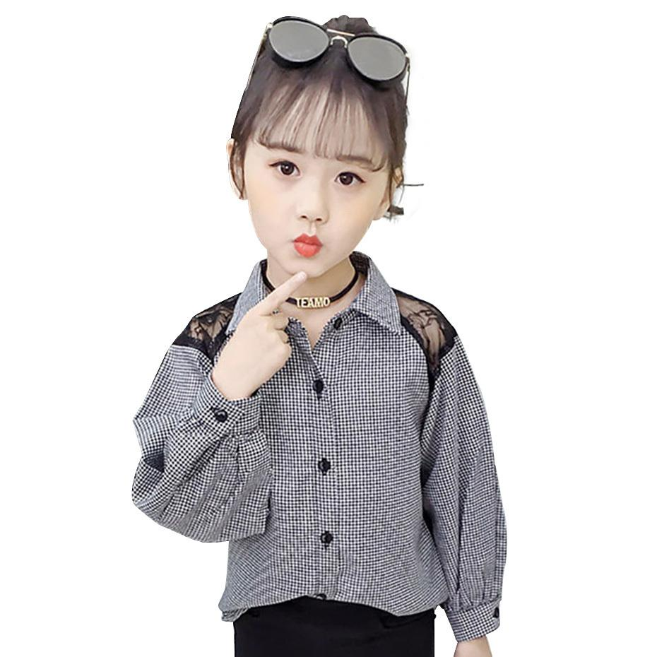 Girls Blouses Plaid Blouse For Girls Long Sleeve Kids Shirt 6 8 12 Years Spring Girls Clothing Teen Children's Shirt Autumn LJ200812