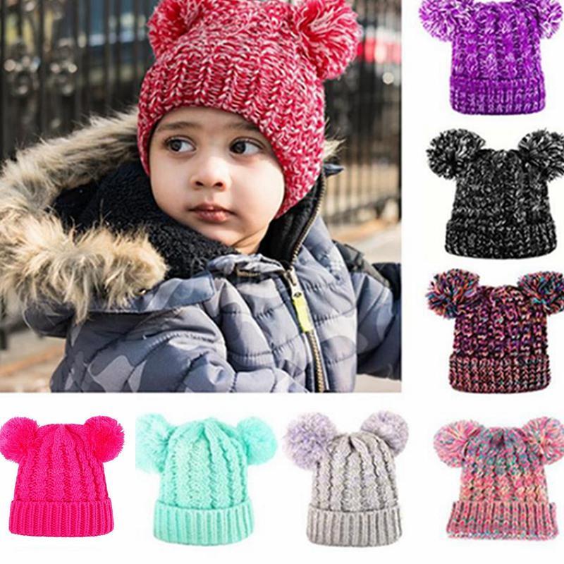 Winter Kids Pompom Knitting Hat Girl Lovely Double Ball Knitted Cap Toddler Warm Skullies Caps Crochet Beanie Outdoor Warm Hat IIA724