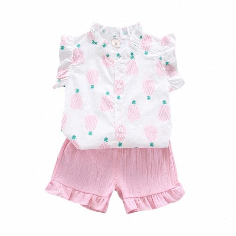 Coton Bébé fille vêtements doux décontracté imprimé d'ananas imprimé t-shirt Tops pantalons Set Enddler enfants Enfants Outfits C0HK #