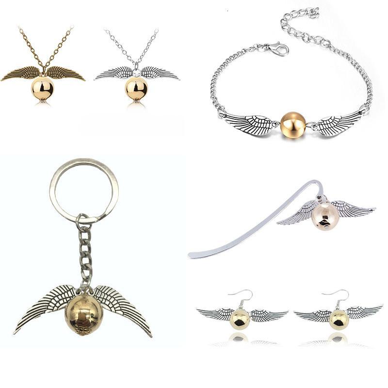 Filme Jóias Golden Snitch Bookmark Colar Pulseira Keychain Popular Vintage Estilo Sweety Angle Wings Brincos para mulheres Kid