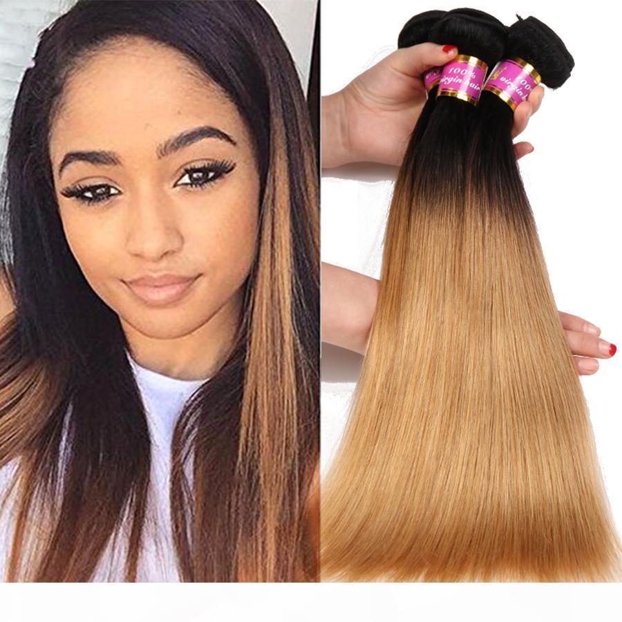 8a ombre 1b 27 cheveux vierges brésiliens 3 paquets droite platine blonde noire racines sombres ombre extension de cheveux humains de gros prix prix