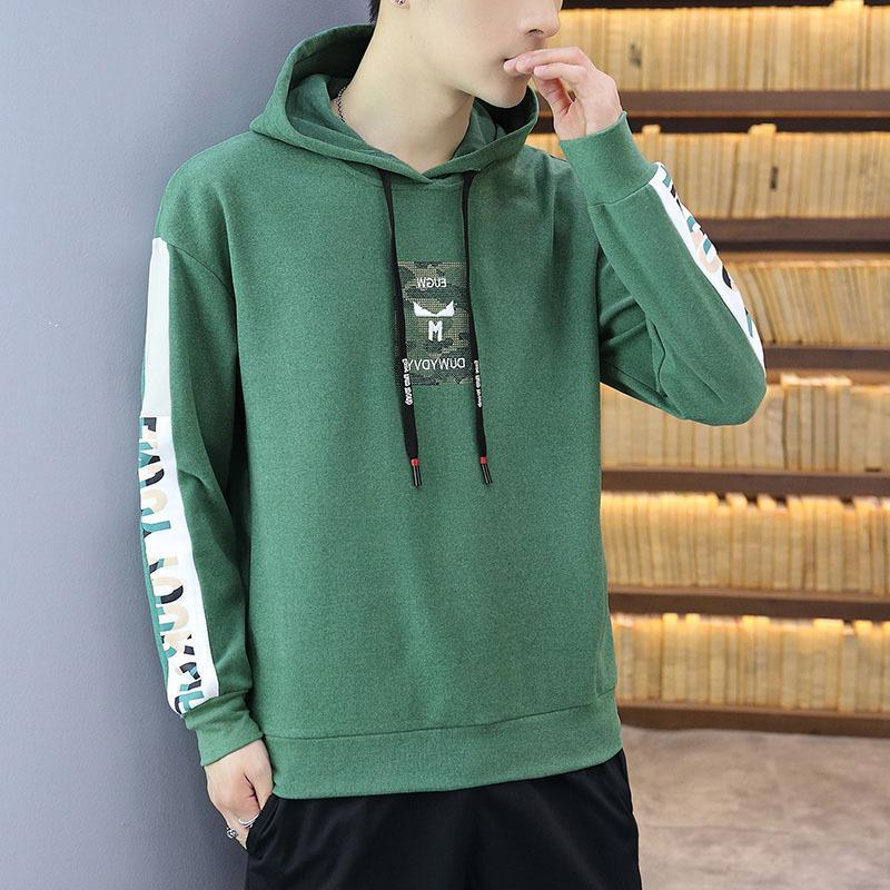 Modefarbe Matching Stickerei Lose Kapuzenpullover Männer Herbst Winter Neuer Koreanischer Jugend-Pullover