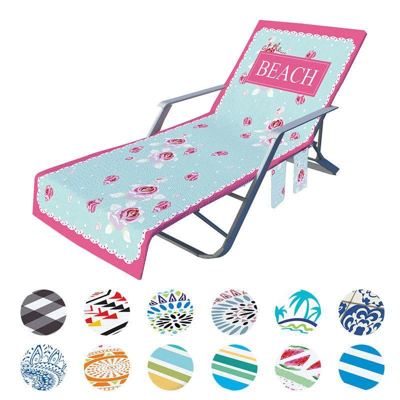 Summer Microfiber Recliner Beach Towel Fashion Print Sunbathing Sling Chair Cover with Pocket Lazy Lounger Chair Beach Towel