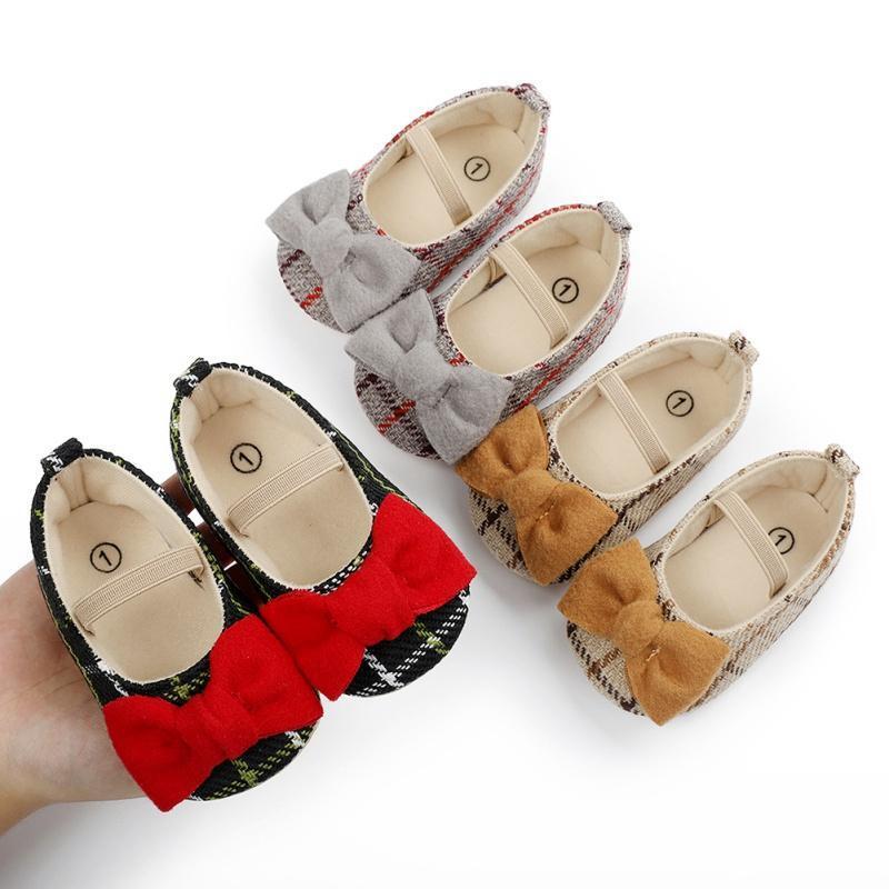 First Walkers 2021 0-18M Baby Bridate Младенческая клетчатка BOWKONT Принцесса Обувь Обувь для кроссовки Девушка единственная мягкая кроватка