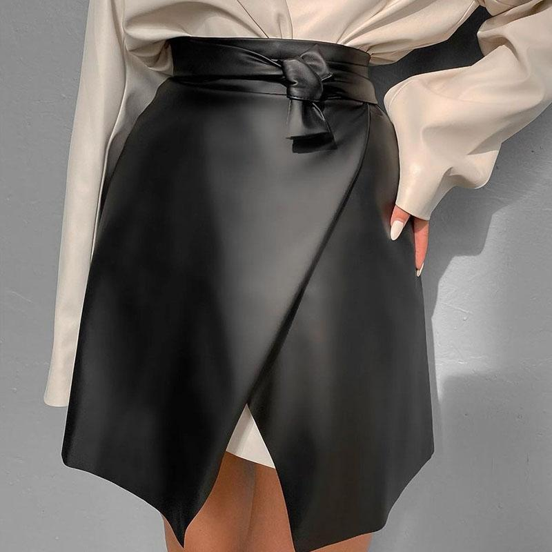 Black PU cuero mujeres sexy cintura dividida látex faldas de látex delgada alta cintura a-line casual mini faldas Bodycon Elegant Streetwear