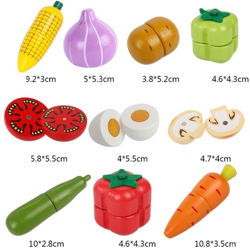 Manyetik Ahşap Meyve Ve Sebze Kombinasyonu Kesme Mutfak Oyuncak Hediye Seti Çocuk Oyna Pretend Simulation Playset Çocuk Eğlenceli Y200428