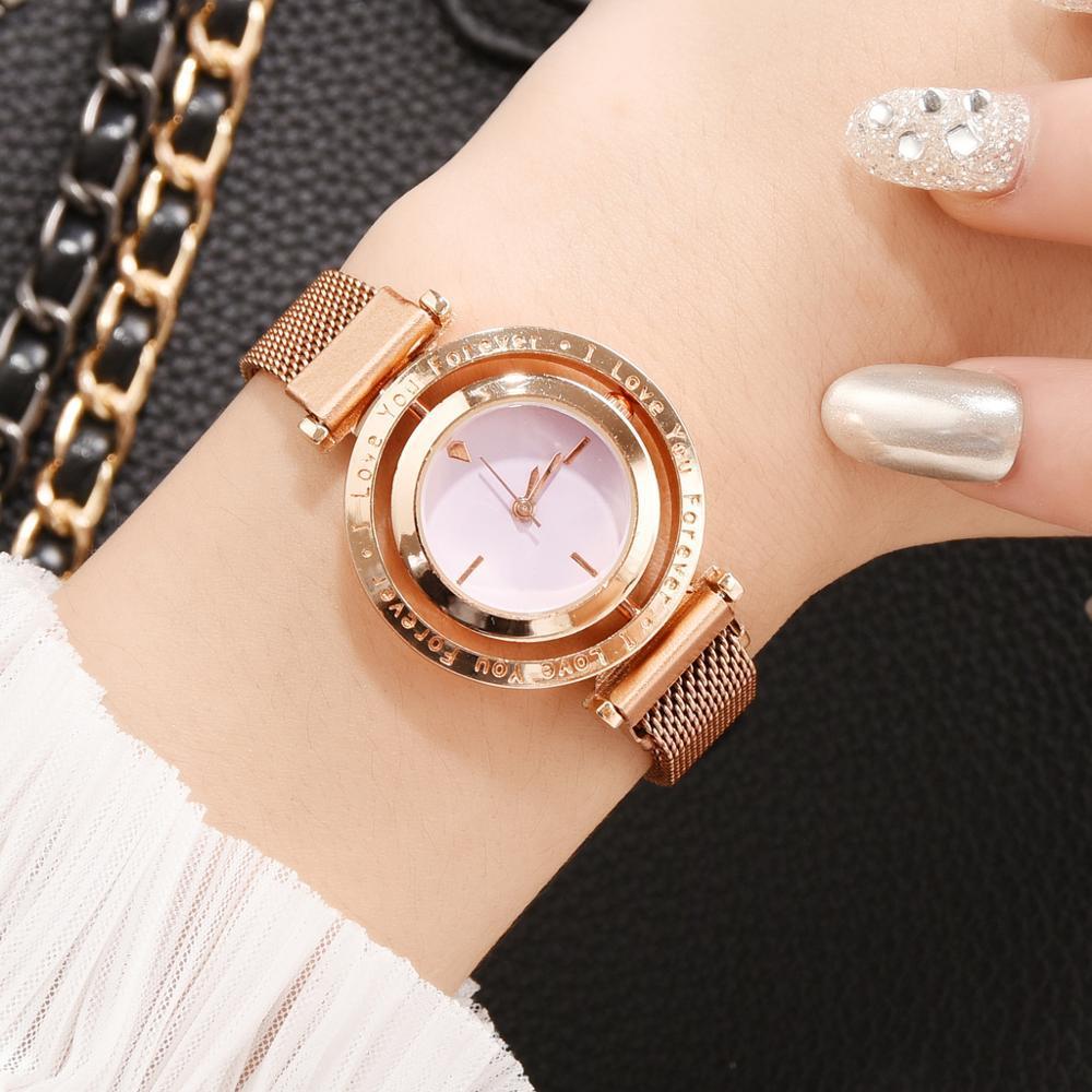 Luxus Frauen Uhren Rose Gold Magnet Net Gürtel Damen Armbanduhren Zifferblatt Frauen Armbanduhr Weibliche Uhr Relogio Feminino Fashion Design
