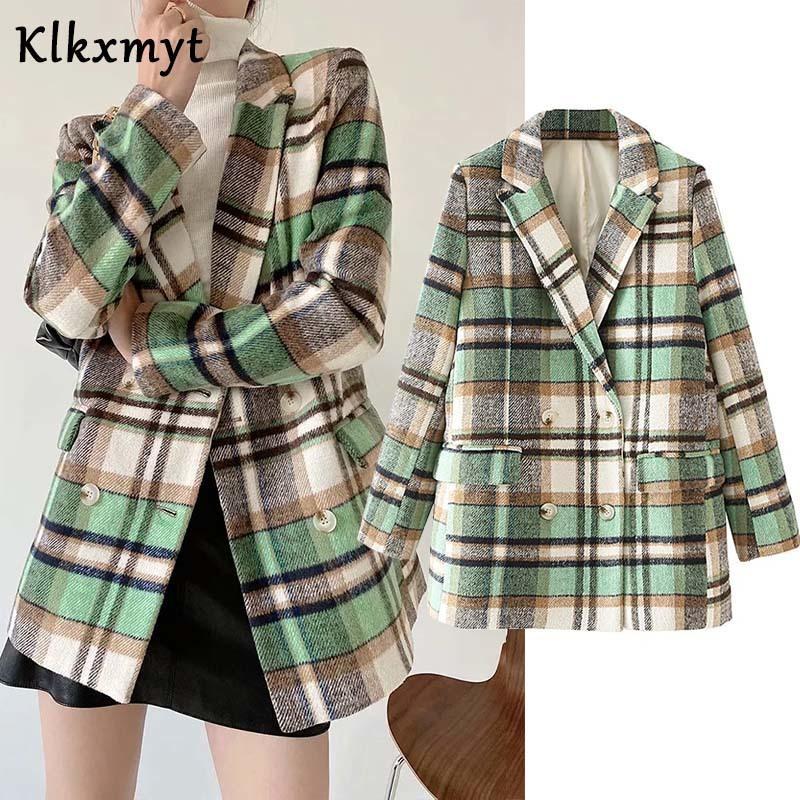 KLKXMYT ZA Blazer Kadınlar 2020 Moda Yün Çek Kruvaze Blazer Ceket Vintage Uzun Kollu Kadın Giyim Şık X1214 Tops