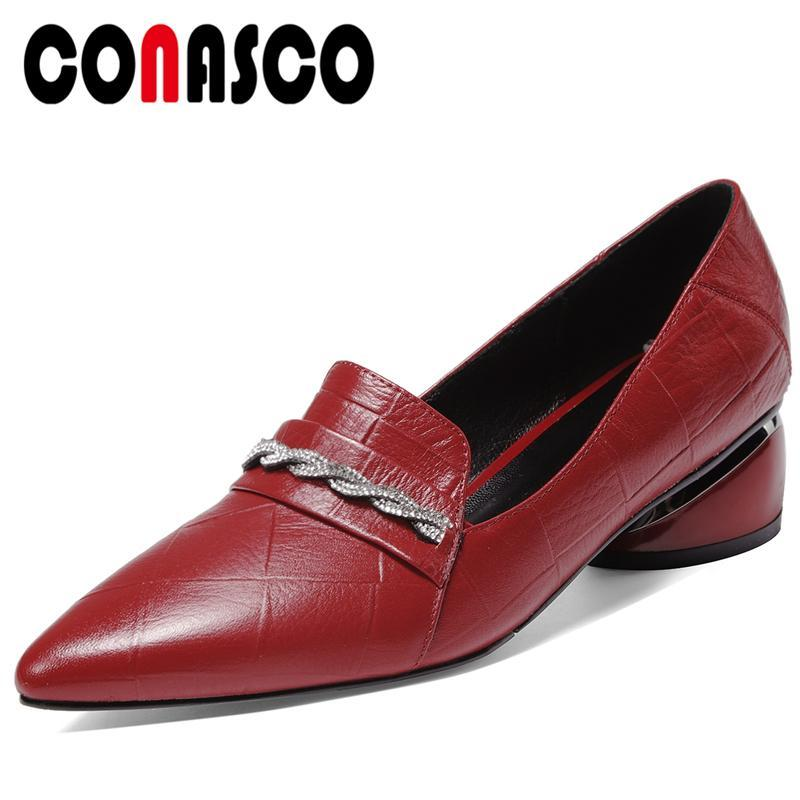 CONASCO Women Cow Leather Casual Wedding Shoes Rhinestone Cross-Tied Metal Round Heel Spring New Arrival Concise Shoes Woman