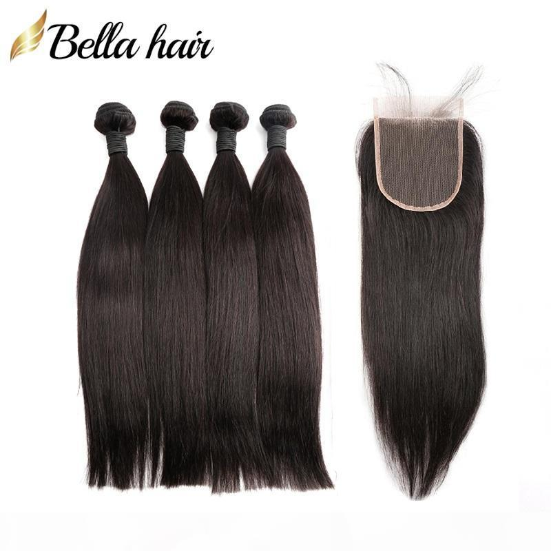 Unprocessed Indian Human Hair Bundles with Lace Closure 4X4 Natural Color Straight Virgin Hair Extensions Weave Bellahair Full Head 5PCS