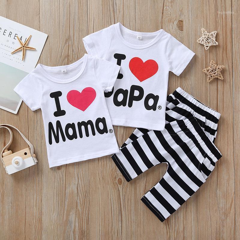 2020 Nouveau-né Vêtements d'été Ensemble d'été Baby Garçons Girly I Love Papa and Mama T-shirt à manches courtes + Pantalon 2pcs costume Enfants Pyjamas Set1