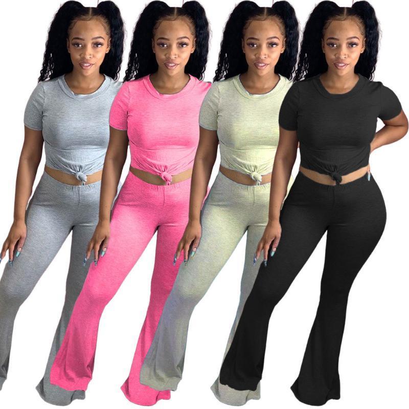 58LL6299 Herbst Women Casual Zweiteiler Top und Solid O-Ansatz Schlaghose Hose Anzug Sweatsuit Outfits