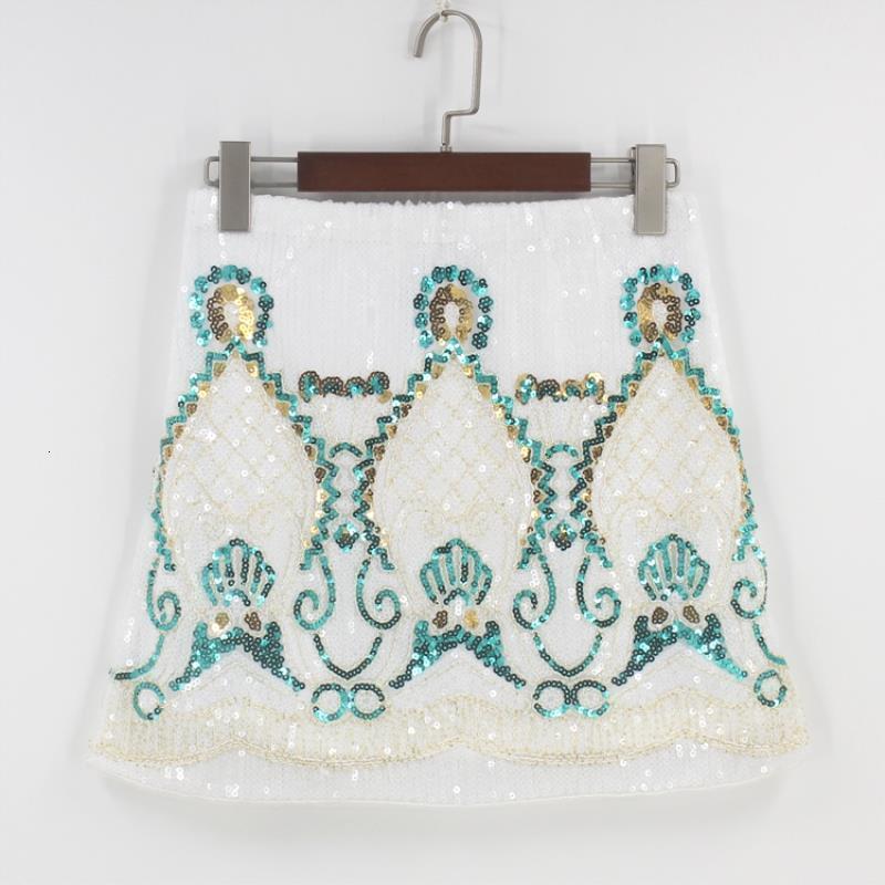 Урожай 1970-х годов геометрический украшенный блесток бисером мини юбка черно-белый выходит упругая талия Bodycon барокко карандаш юбка